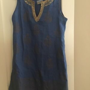 Blue Linen Embellished Dress Soft Surroundings L